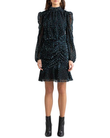 Shoshanna Cassia Dot Velvet Burnout Dress