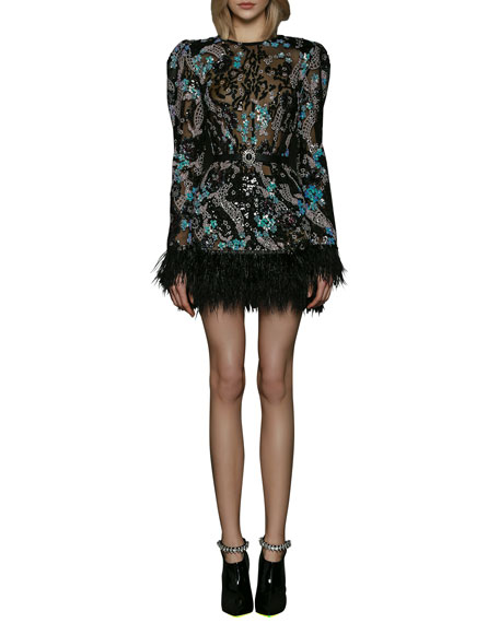Bronx and Banco Annabelle Sequin Long-Sleeve Feather Trimmed Dress