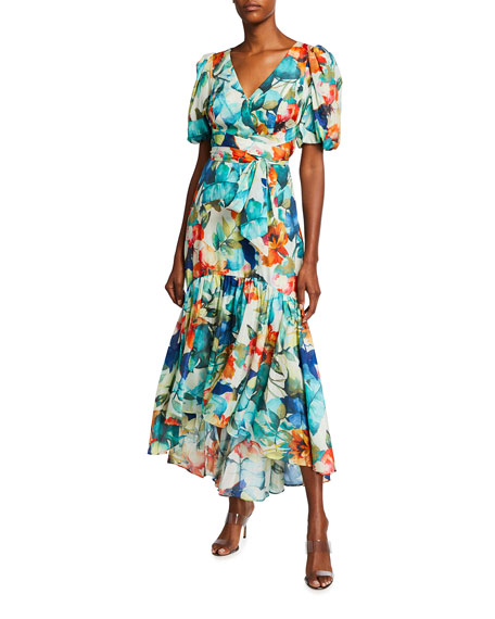 Parker Black Marcel Floral Printed Puff-Sleeve Gown