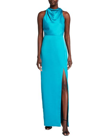 Parker Black Yara Open-Back Halter Gown