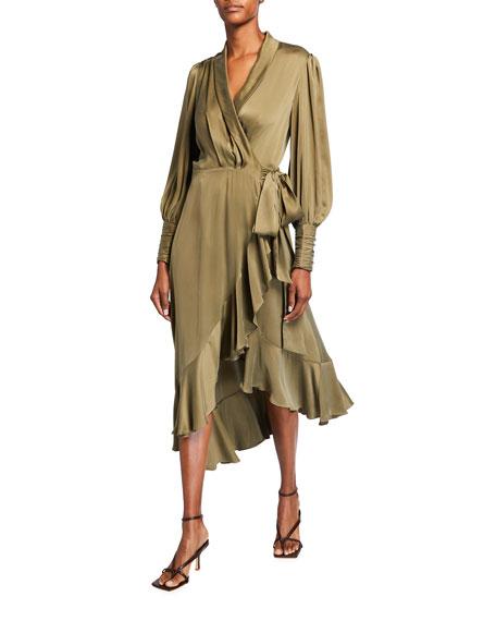 Zimmermann Silk Midi Wrap Ruffle Dress