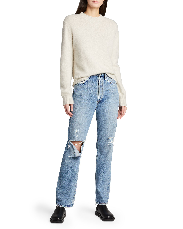 90s Pinch-Waist Distressed Jeans