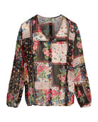 Johnny Was Roswell Pieced Floral Print Top