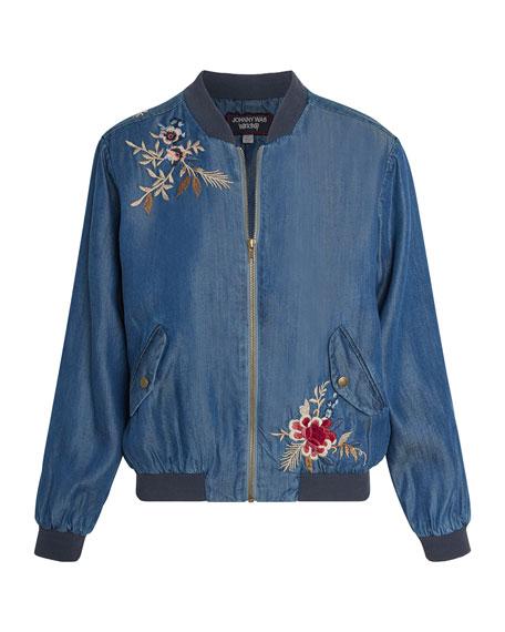 Johnny Was Palmyra Embroidered Denim Bomber Jacket