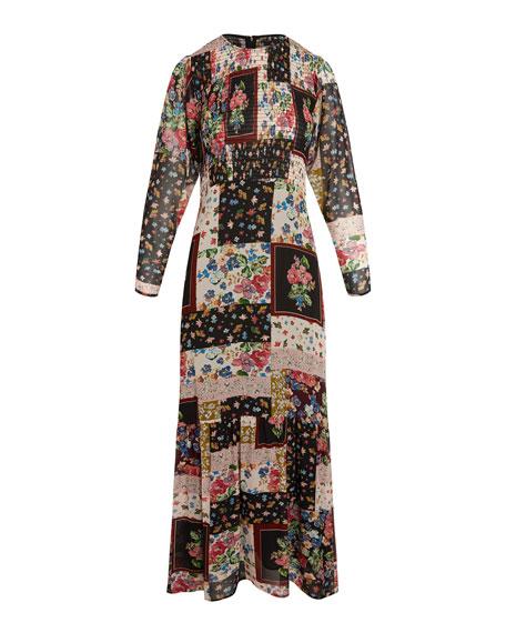 Johnny Was Clovis Pieced Floral Print Maxi Dress