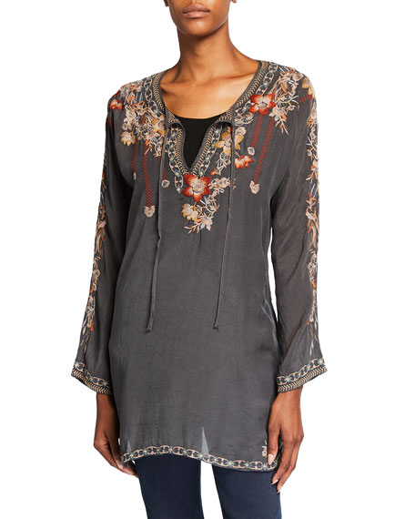 Johnny Was Gemma Floral Embroidered Long-Sleeve Blouse