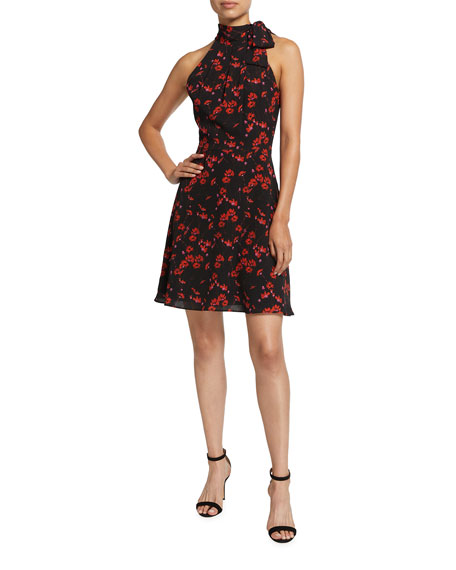 Black Halo Audrey Floral Print Tie-Neck Dress