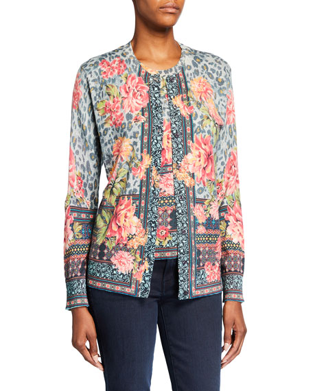 Johnny Was Plus Size Museo Mixed-Print Sweater Set