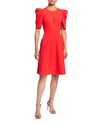 Russo Puff-Sleeve A-Line Cady Dress