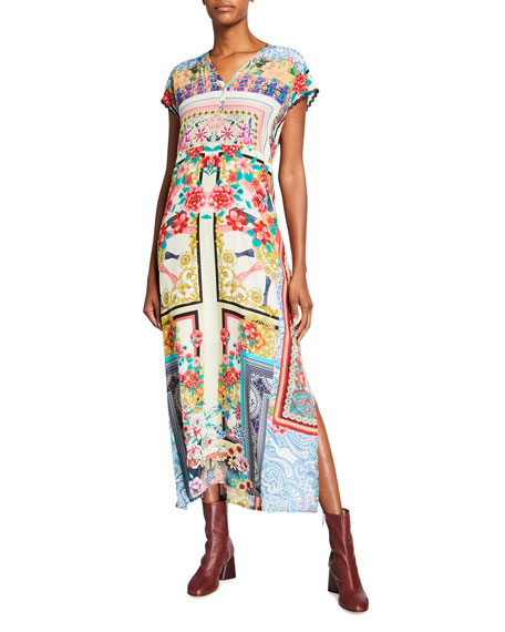 Johnny Was Odelia Mixed Print Cap-Sleeve Long Silk Dress