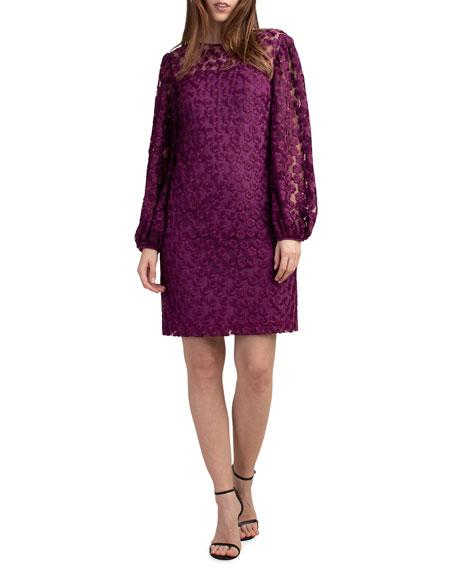 Trina Turk Airie Floral Lace Blouson-Sleeve Dress