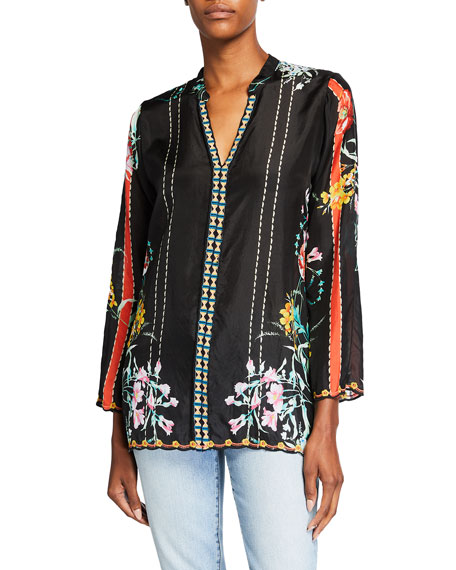 Johnny Was Eulia Floral Print V-Neck Silk Blouse