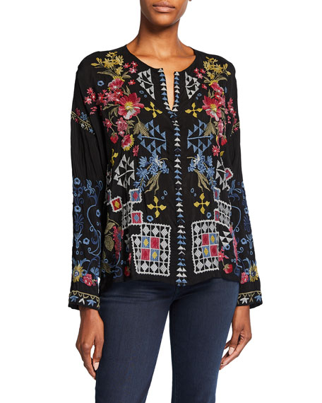 Johnny Was Sybil Button-Front Embroidered Blouse
