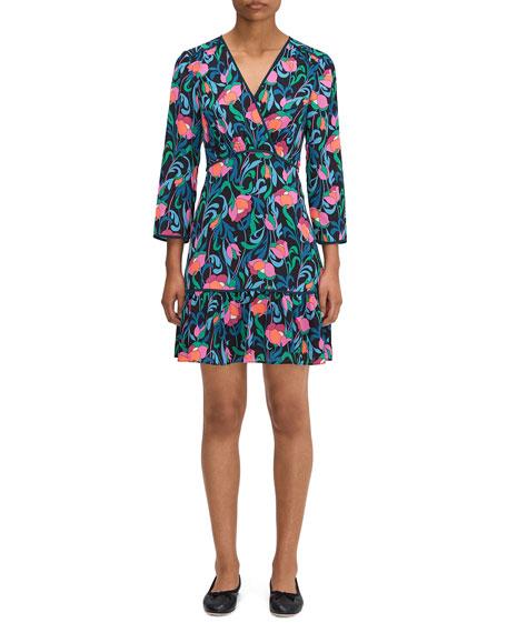 kate spade new york floral swirl surplice dress