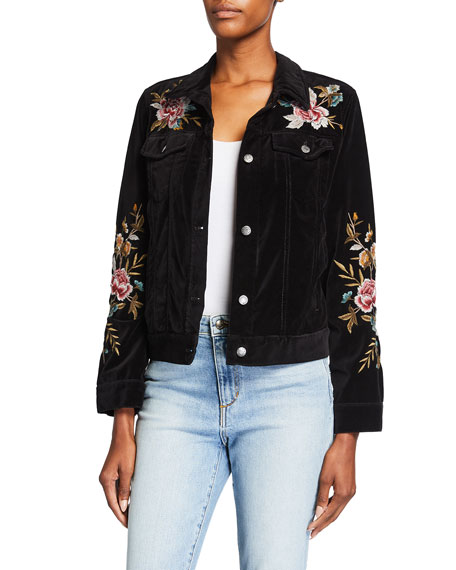 Johnny Was Elara Velveteen Floral Embroidered Jacket