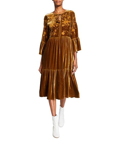 Johnny Was Millie Floral Embroidered Velvet Boho Midi Dress