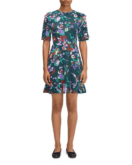 kate spade new york fleur nouveau smocked-back ruffle dress