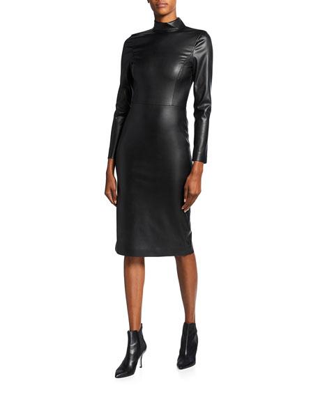 Alice + Olivia Delora Faux-Leather Mock-Neck Open-Back Dress