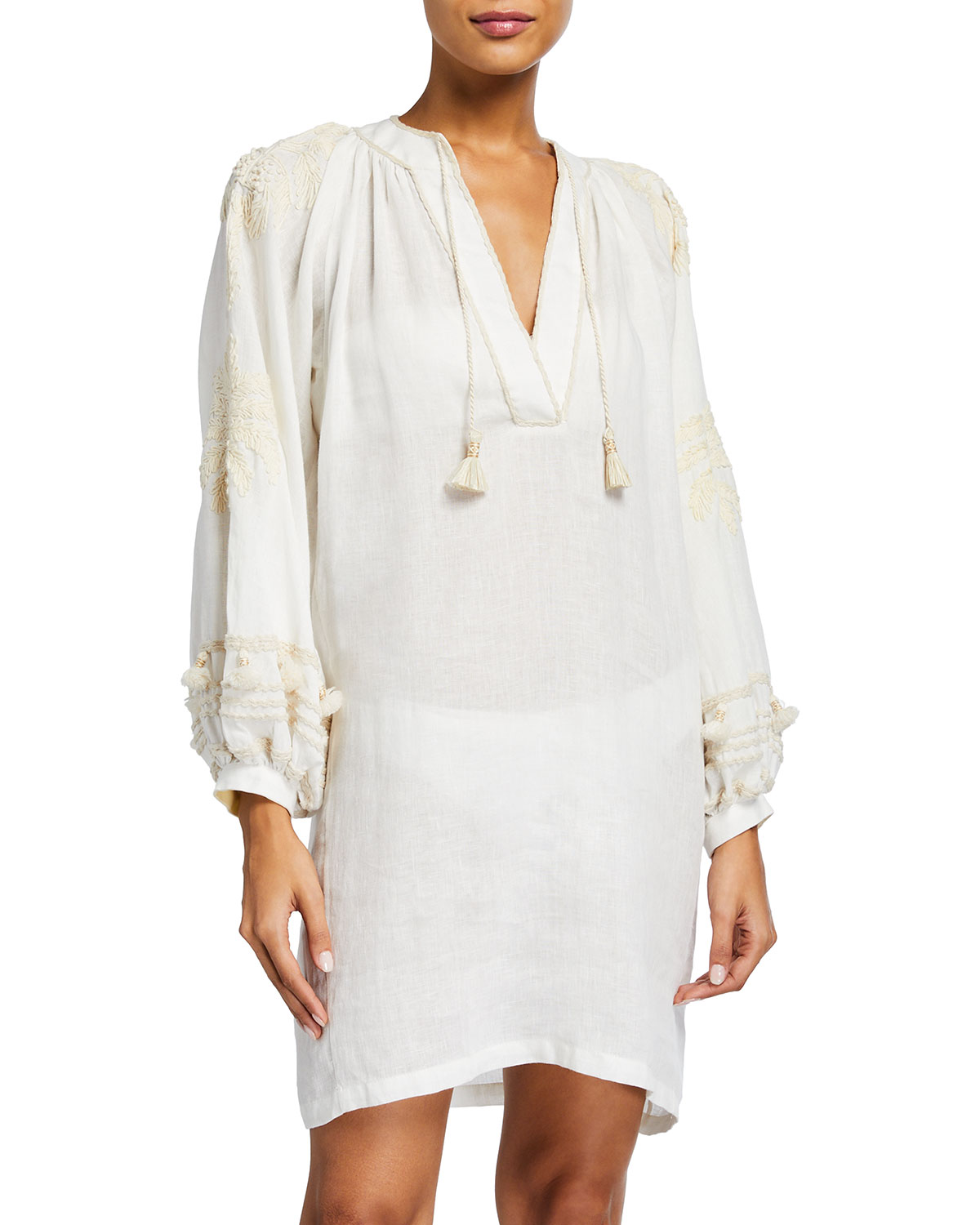 Tapestry of Dreams Embroidered-Sleeve Mini Coverup Dress