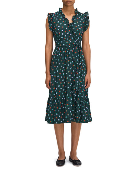 kate spade new york blackberry printed ruffle wrap dress