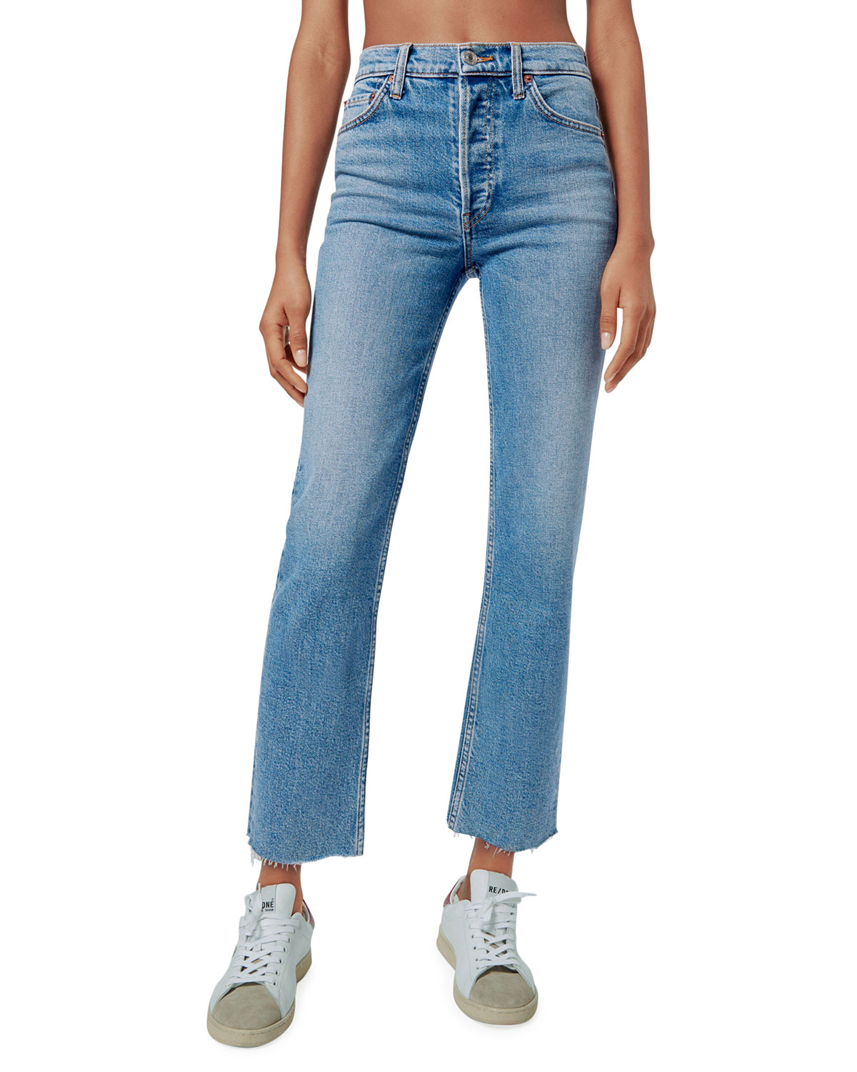 Re/done HIGH-RISE STOVEPIPE JEANS WITH RAW-EDGE HEM
