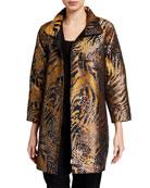 Caroline Rose Plus Size Metallic Animal Jacquard Jacket