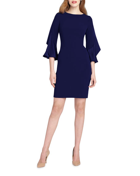 Rickie Freeman for Teri Jon Ruffle-Sleeve Sheath Dress