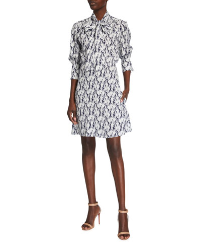 Scarf-Neck Surreal Hands Twill Shirt Dress