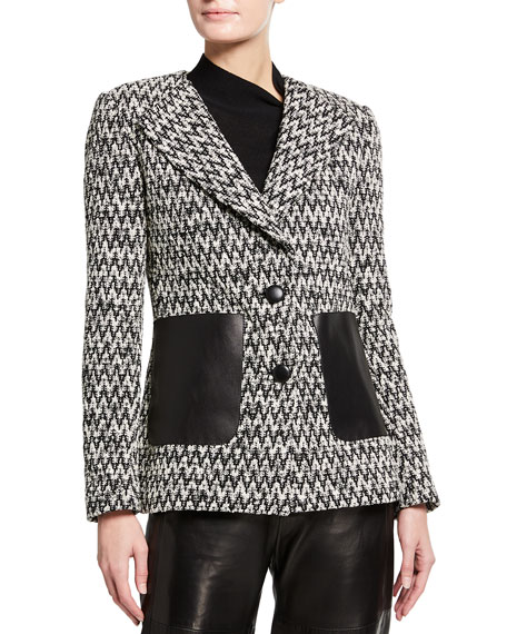 St. John Collection Chevron Boucle Knit Jacket