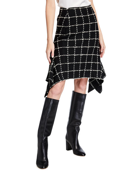 St. John Collection Eyelash Windowpane Knit Skirt
