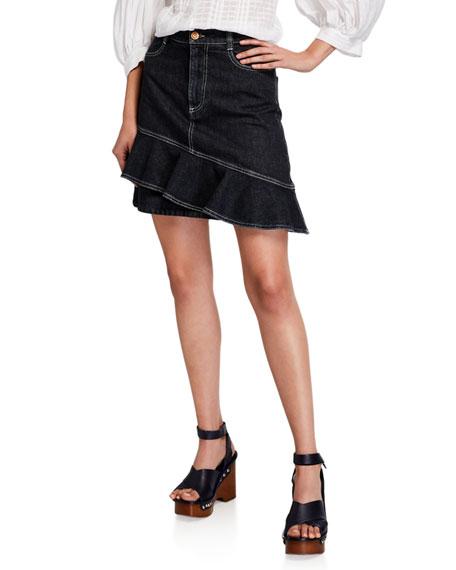 See by Chloe Double-Hem Denim Flounce Skirt