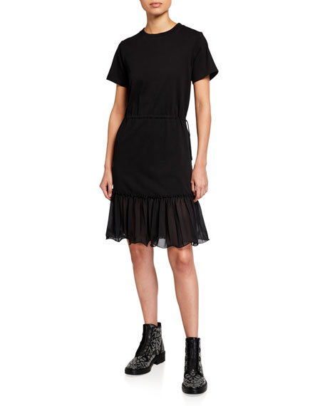 See by Chloe Short-Sleeve Cotton Dress with Georgette Hem