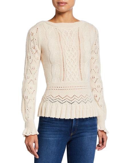 See by Chloe Alpaca Pointelle Sweater with Peplum Hem