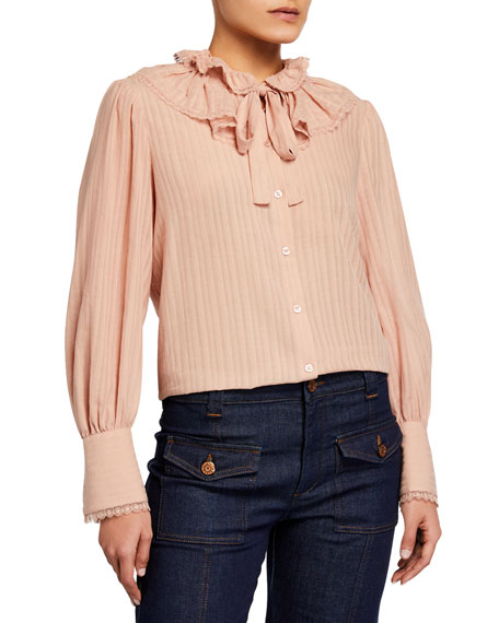 See by Chloe Button-Front Cotton Voile Blouse
