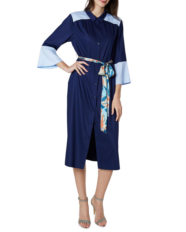 Maternity Michelle Colorblock Belted Midi Shirtdress