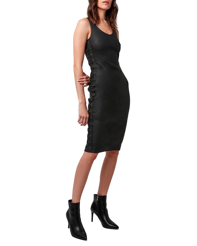 Dita Stretch Leather Lace-Up Dress