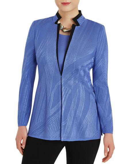 Misook Plus Size Abstract Stripe Knit Jacket