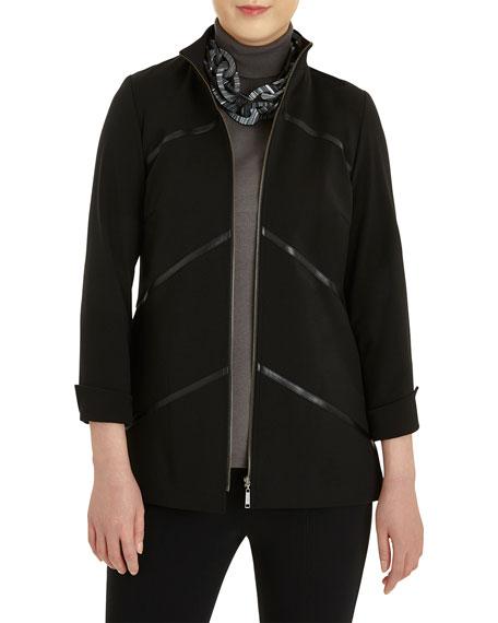 Misook Faux-Leather Zip-Up Ponte Jacket
