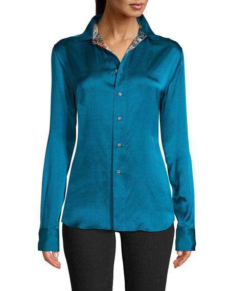 Robert Graham Carrie Silk-Blend Contrast Cuff Shirt