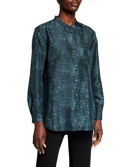 Eileen Fisher Petite Abstract Printed Mandarin Collar Long-Sleeve Shirt