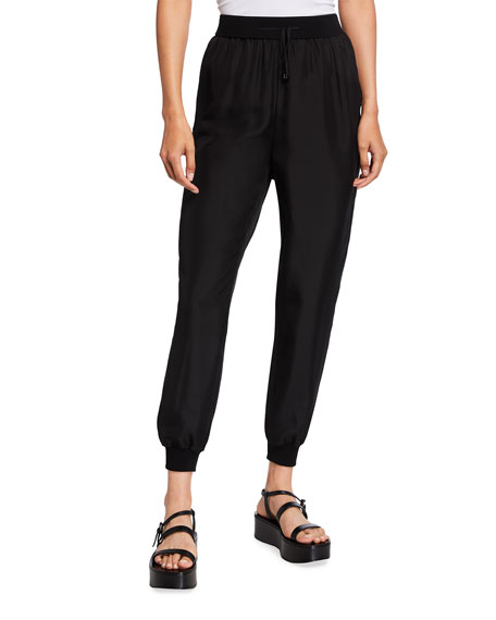 Eileen Fisher Slouchy Cropped Silk Pants with Knit Cuffs