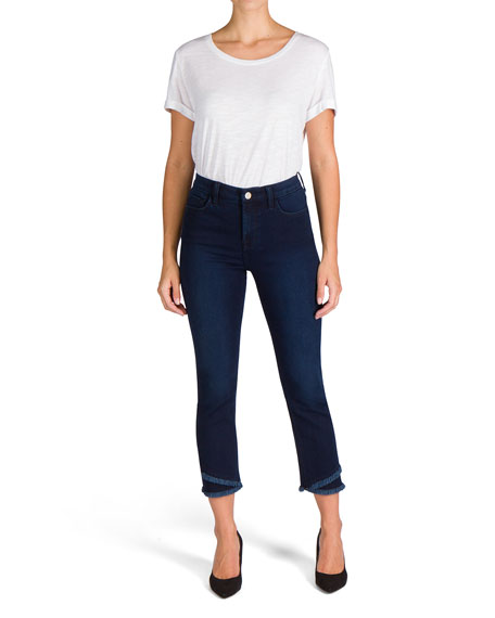Jen7 by 7 for All Mankind Mid-Rise Ankle Straight Jeans with Layered Hem