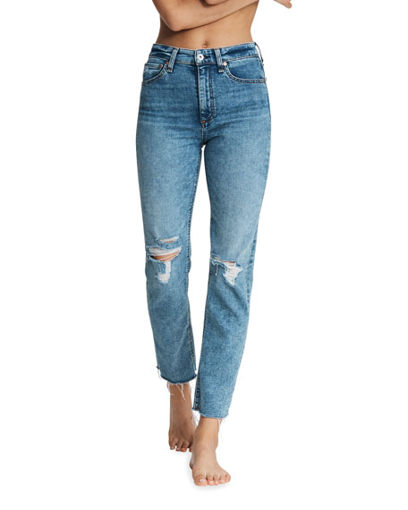 Rag & Bone Nina High-Rise Ankle Cigarette Knee-Rip Jeans
