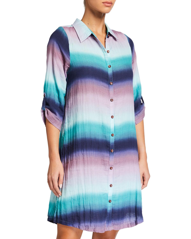 Sofia Button-Front Tie-Dye Gauze Tunic Coverup