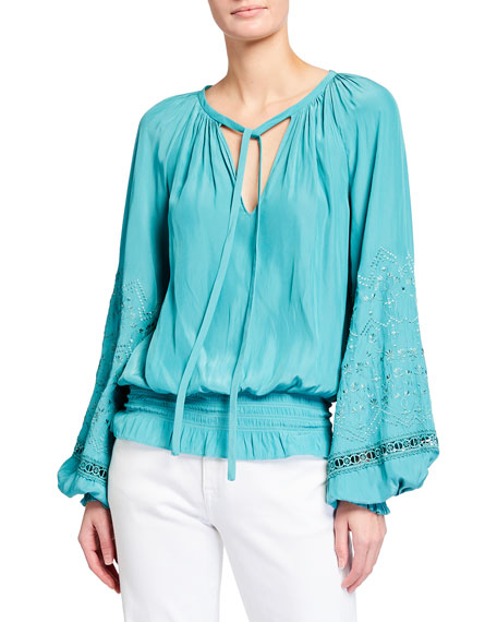 Ramy Brook Romy Embroidered Puff-Sleeve Peasant Top