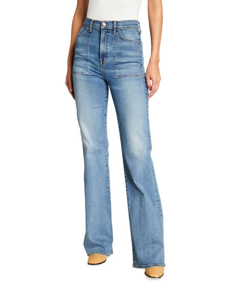 Veronica Beard Jeans Crosbie Wide-Leg Jeans with Patch Pockets
