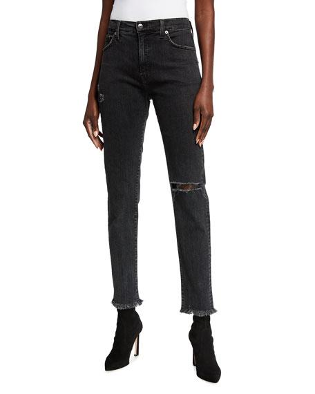 Veronica Beard Jeans Benzi Raw-Hem Destroyed Knee-Rip Skinny Jeans