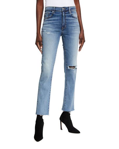 Veronica Beard Jeans Ryleigh Raw-Hem Destroyed Jeans