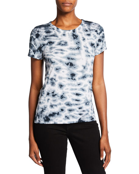 Monrow Crystal Tie-Dye Fitted Crewneck