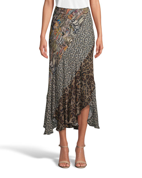 Robert Graham Riley Mixed Pattern Midi Skirt